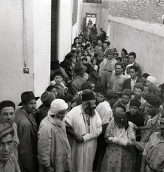 Jewish refugees from mountain villages herded into ghetto's in larger cities. April 1949, Oudja, Morocco.
