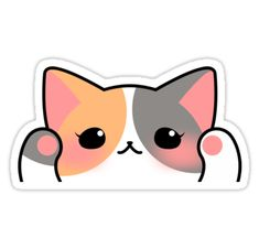 Kawaii Cat stickers featuring millions of original designs created by independent artists. Stickers Cool, Stickers Kawaii, Face Stickers, Tumblr Stickers, Printable Stickers, Laptop Stickers, Planner Stickers, Cute Animal Drawings, Kawaii Drawings