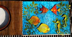 """7.8.2014 (Not just a) Blue world - art journal page. Double page - second page. A4 (cca 8.5"""" x 11.5"""") http://romanassunnycreation.blogspot.ch"""