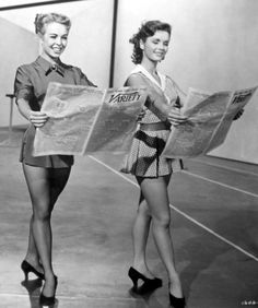 Debbie Reynolds and Marge Champion in rehearsal for 'Give a Girl a Break', 1953.