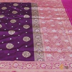 Purple And Turquoise Sari Fabric Brocade Indian Art