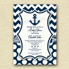 Navy and White Chevron Damask and Polka Dots Anchor Baby Shower Invitation - PRINTABLE INVITATION DESIGN by MommiesInk on Etsy https://www.etsy.com/listing/163398510/navy-and-white-chevron-damask-and-polka