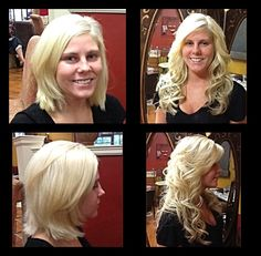 Human hair extensions, before/after