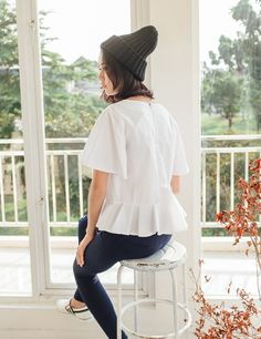 Yuanclothing - Bell Sleeves Pleated Top