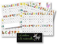 Référentiels alphas / script / cursif (LaCatalane) Alphabet Alpha, Script Cursif, Learn French, Cursive, Montessori, Activities For Kids, Periodic Table, Positivity, Teaching