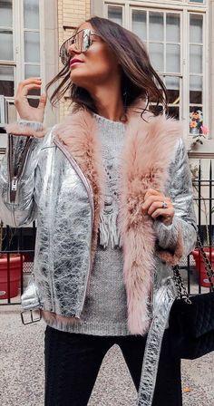 trendy winter outfit / silver jacket + grey sweater + bag + black skinnies