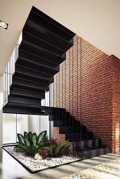 Inspiration Unique Ideas For Indoor Garden Under Stairs Garden Stairs, House Stairs, Home Stairs Design, Modern House Design, Stair Design, Interior Design Inspiration, Home Interior Design, Modern Stairs, Interior Garden