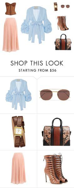 """The blue shirt"" by edith-a-giles ❤ liked on Polyvore featuring Johanna Ortiz, Illesteva, GUESS, Givenchy, Francesco Russo and Chanel"