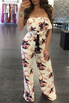 Color:Multicolor Pattern:Floral Print Neckline:Straight Neck Material:Milk Silk/Polyester Style:Fashion/Casual SleeveLength:Sleeveless Package Include: Jumpsuit Note: There might be diff. Trendy Outfits, Summer Outfits, Cute Outfits, Fashion Outfits, Womens Fashion, Style Fashion, Long Jumpsuits, Jumpsuits For Women, Strapless Jumpsuit