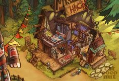 Mystery Shack by Catcoconut on DeviantArt Oh my gosh! Look at Bill in the living room!
