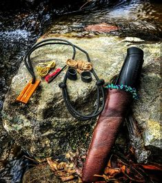Survival Craft Collar: Adjustable Survivor Cord Necklace with snare wire, fish line, tinder, jute rope wrap around fatwood, ferro rod, and ranger band.