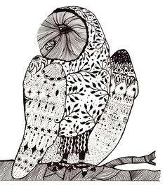 Black and White Art, Owl Art, Pen and Ink Art, Pen Art, Ink Art, Pattern Art, Nursery Art, Owl Illustration, Owl Drawing, 4 x 6 Art Print