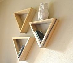 Triangle Solid Wood Shelves by HibouxDesign on Etsy