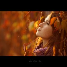 light, Fall, and a beautiful girl, moon and all in the Fall....Perfect occasion…