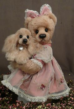 This sweet little bear and her puppy are by Rosalie Frischmann from Mill Creek Creations.