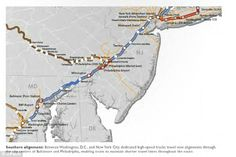 Faster times: In a design by students at the University of Pennsylvania, new high speed tracks - seen in red - would be added to pre-existing routes on the Northeast Corridor