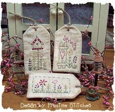 Collection SpringTag primitifs Stitchery-E-PATTERN par Primitive Stitches-Instant Download