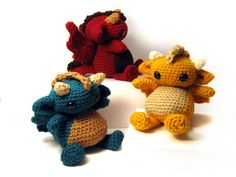 Amigurumi Dragon Trio - the wings look good!