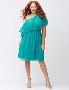 NWT $79 pleated ruffle one shoulder LANE BRYANT turquoise dress 1X 2X sheer top  #LaneBryant #oneshoulderpleatdressHip1X562X58 #Formalhas3940length
