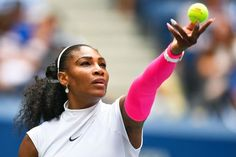 Serena Williams serves to Johanna Larsson of Sweden during their 2016 US Open women's singles match at the USTA Billie Jean King National Tennis Center in New York on Sept. 3, 2016.