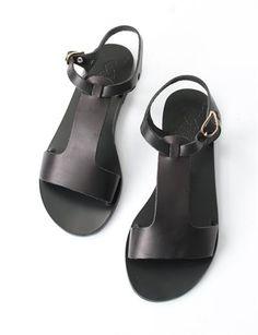 Ancient Greek Sandals Adonia- Black