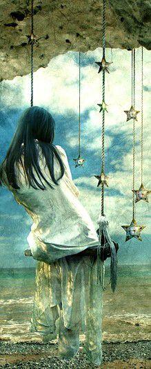 Girl on a swing. Erica Leighton. Art, illustration, posters.