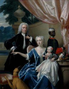 Portret van Johan Frederik van Friesheim (1685-1747), Marie Aimée van Friesheim-de Rapin de Thoyras (1716-1800) en hun zoon Johan Frederik (Godfried) van Friesheim (1738-1776) with their negro page | Modemuze