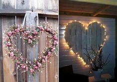 A nagyobb, virágból vagy fényfüzérből kialakított szívek is illenek az esküvői dekorációba.