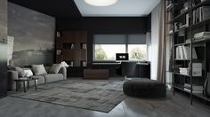 Rest and relaxation characterise the upper-floor rumpus room, muted in shades of grey. Holed bookshelves, a feature wall painting and wide windows tie together with a rug reminiscent of the main living room.