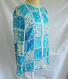Vintage Beaded Sequin Silk Trophy Jacket Turquoise Tunic Geometric M Rina Z | eBay