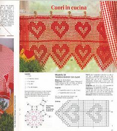 Heart valance with diagram - filet crochet curtain