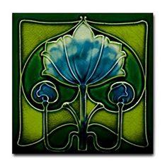 Amazon.com: CafePress - Art Nouveau Blue Flower Tile Coaster - Tile Coaster, Drink Coaster, Small Trivet: Kitchen & Dining