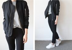 grey tee, black bomber, black bottoms, white sneakers