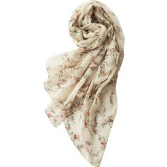 UNIQLO Ines Printed Stole ($22) ❤ liked on Polyvore featuring accessories, scarves, natural, vintage stole, floral scarves, floral print scarves, uniqlo and vintage shawl