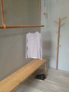 Cloths rack with leather straps ,oak bench ,coat rack by chriscolwelldesign