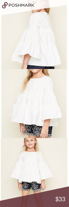 ☃️ Snow Queen Top ☃️ White as snow bell sleeve tiered blouse ❄️ 🌵 No Trades. 🌿 Not Free People.   Instagram: Phoenix.Tribe Facebook: ShopPhoenixTribe Website: ShopPhoenixTribe.com Justice Shirts & Tops Blouses
