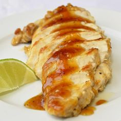 Apricot Lime Glazed Chicken Breasts - a delicious sweet and sour glazed chicken that makes a terrific quick and easy weekday meal served with Chinese noodles or fried rice.
