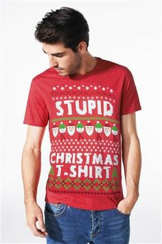 Buy Red Stupid Xmas T-Shirt from the Next UK online shop