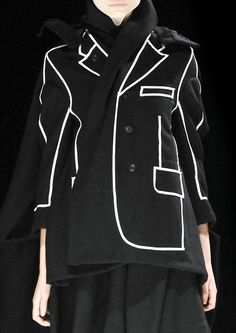 Black jacket with contrasting outline illustrating the jacket shape, pockets and lapels; fashion details // Comme des Garcons