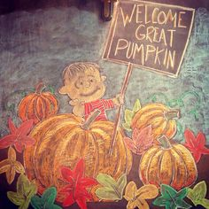 It's The Great Pumpkin, Charlie Brown chalk wall art / fall and Halloween chalk art