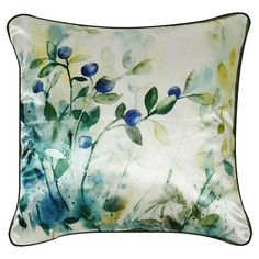 Featuring a watercolour floral design, this satin cushion is perfect for refreshing your cosy reading nook or conservatory bench. Decor, Cushions, Floral Cushions, Home Additions, Luxury Furniture, Butterfly Cushion, Cushion Pads, Scatter Cushions, Velvet Cushions