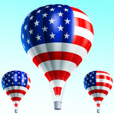 patriotic hot air balloon | ... of abstract style american flag design with…