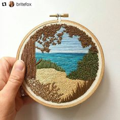 A lovely bit of texture and a lovely chilled out scene by ・・・ It's been a long time since my last post; life has been hectic lately and I've Hand Embroidery Stitches, Embroidery Hoop Art, Hand Embroidery Designs, Embroidery Techniques, Ribbon Embroidery, Cross Stitch Embroidery, Machine Embroidery, Contemporary Embroidery, Modern Embroidery