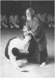 Here's a photo of Morihei Ueshiba at the age of back in He was the founder of the Japanese martial art of aikido. Kung Fu, Karate, Judo, Jiu Jitsu, Arte Ninja, Peace Art, Art Japonais, Martial Artists, Mixed Martial Arts