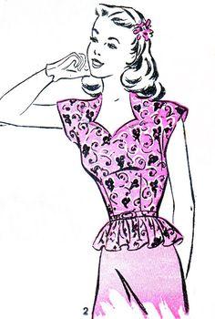 1940s Peplum Top Pattern Advance 3901 Womens Front by paneenjerez, $35.00