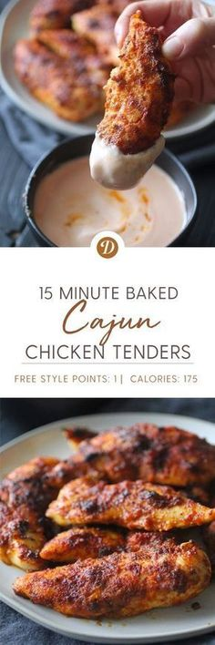 15 Minute Baked Cajun Chicken Tenders - Food and Drink I Love Food, Good Food, Yummy Food, Tasty, Baked Cajun Chicken, Baked Chicken Tenders, Cajun Chicken Recipes, Easy Cajun Recipes, Recipes For Chicken Tenders