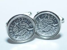 1934 80th Birthday Silver threepence coin cufflinks made from real coins #FathersDay