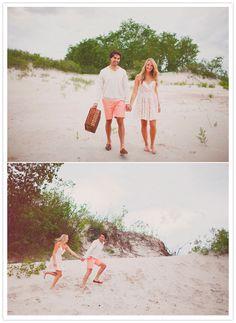 beach picnic engagement photos