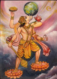 Varaha Avatar of Lord Vishnu Oil Color Art Handmade Indian Hindu Deity Painting Mughal Paintings, Tanjore Painting, Indian Paintings, Hare Krishna, Krishna Art, Ganesha Art, Indian Gods, Indian Art, Mantra
