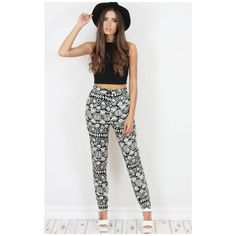 Dolly Rocka Pheonix Aztec Print Trousers ($22) ❤ liked on Polyvore featuring pants, highwaisted pants, high waisted trousers, high rise pants, aztec-print pants and aztec pants